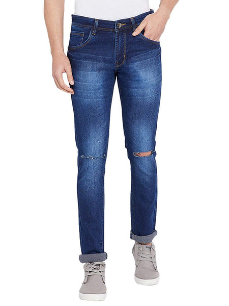 Men's Slim Fit Knee Slash Dark Blue Whisker Streachable Jeans
