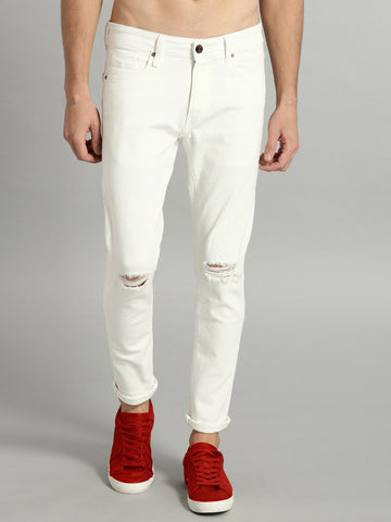 Men Off-White Regular Fit Mid-Rise Slash Knee Stretchable Jeans