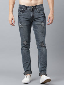 Men Grey & Blue Slim Fit Mid-Rise Mildly Distressed Jeans