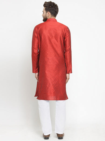Embellished Brocade Kurta in Red with Aligarh by Treemoda