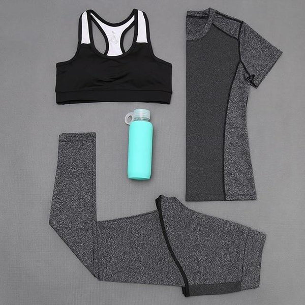 5 piece women quick dry solid yoga sport set bra T-shirt running sportwear Russian girl fitness sport suit jumpsuit tracksuit
