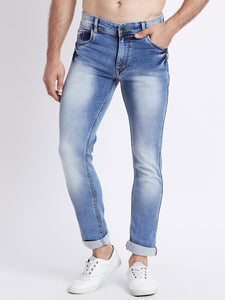 Men Blue Slim Fit Mid-Rise Clean Look Washed Stretchable Jeans
