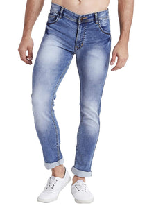 Men Slim Fit Mid Rise Light Blue Washed Jeans