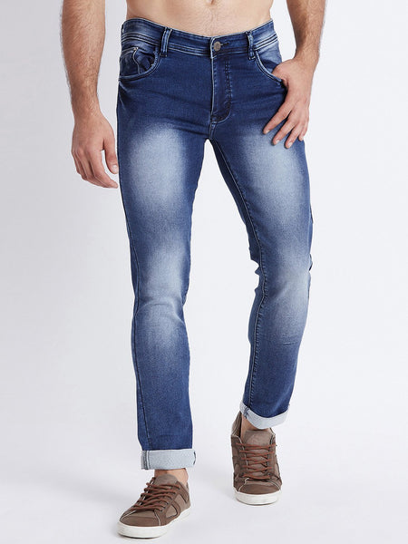 Men Blue Slim Fit Mid-Rise Clean Look Stretchable Jeans