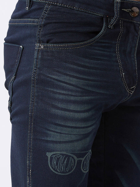 Men Navy Blue Slim Fit Mid-Rise Laser Washed Clean Look Stretchable Jeans
