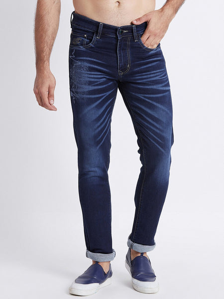 Men Blue Slim Fit Mid-Rise Laser Washed Clean Look Stretchable Jeans