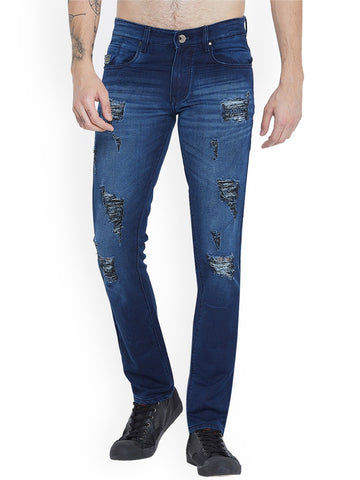 Men Navy Blue Slim Fit Mid-Rise Highly Distressed Stretchable Jeans