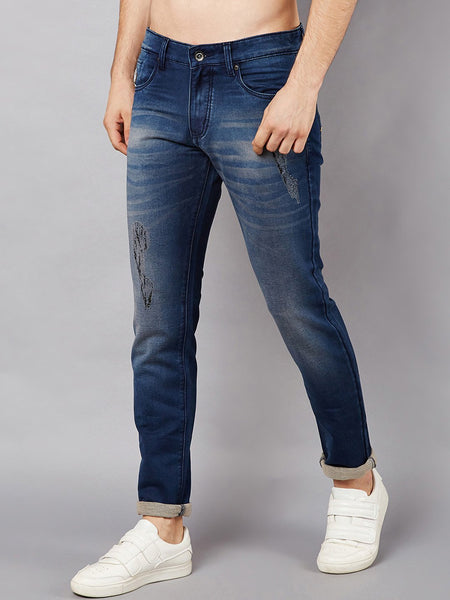 Men Blue Slim Fit Mid-Rise Low Distress Stretchable Jeans
