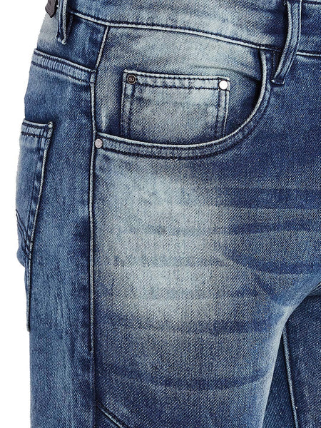 Men Slim Fit Stretchable Mid Rise Blue Washed Jeans
