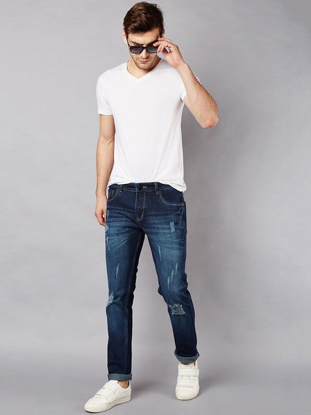 Men Navy Blue Slim Fit Mid-Rise Mildly Distressed Stretchable Jeans