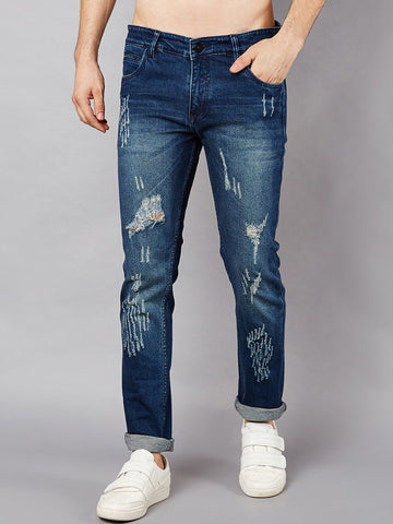 Men Blue Slim Fit Mid-Rise Low Distressed Stretchable Jeans