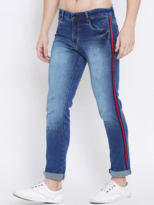 Men Blue Slim Fit Mid-Rise Mildly Distressed Stretchable Jeans