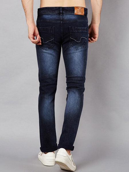 Men Navy Blue Slim Fit Mid-Rise Clean Look Stretchable Jeans