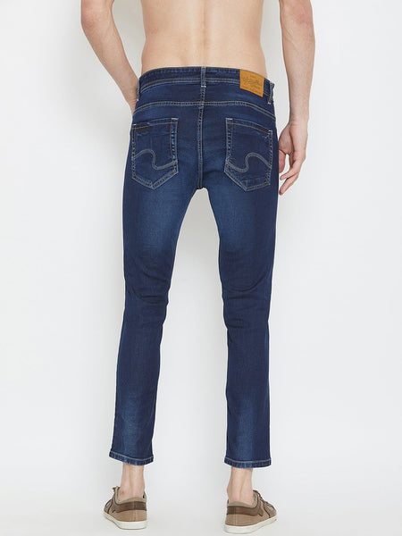 Men Blue Slim Fit Distressed stretchable Jeans