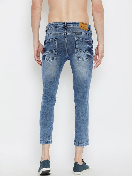 Men Blue Slim Fit Mid-Rise Distressed  Stretchable Jeans