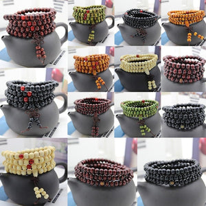 Natural Sandalwood Buddhist Buddha Meditation Beads Bracelet For Men's and Women's