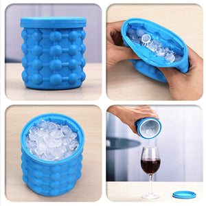 Ice Cube Maker Silicone Tray Ice Bucket