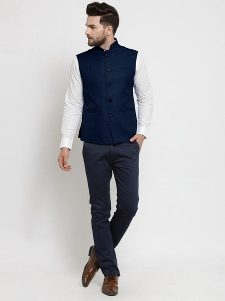Men Dark Blue Solid Nehru Jacket By Treemoda