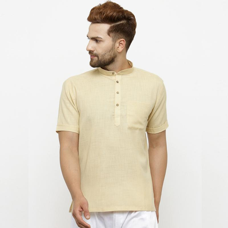 Designer Beige Short Lenin Kurta for Men by TREEMODA