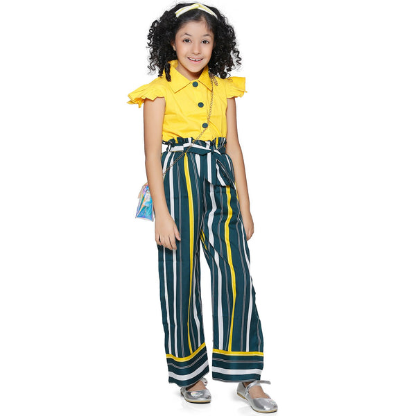 Casual Yellow Polyester Printed Top & Trouser Set For Girls