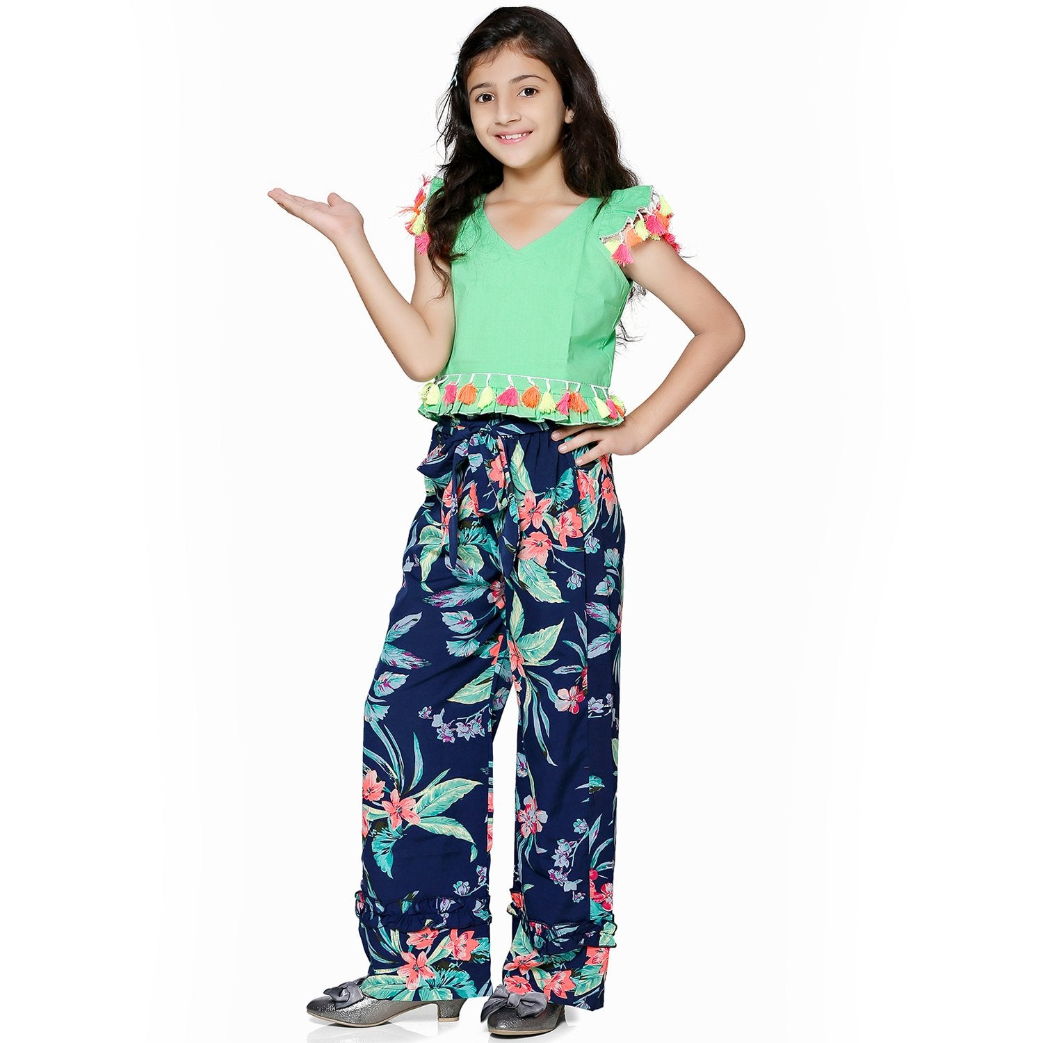 Casual Green Polyester Printed Top & Trouser Set For Girls