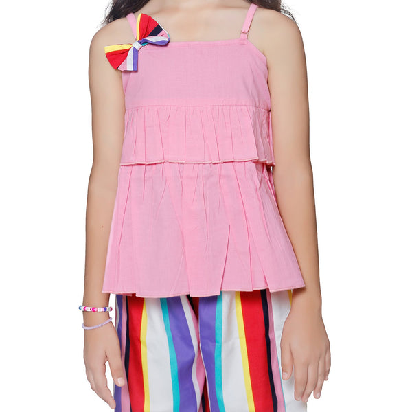 Casual Pink Polyester Printed Top & Trouser Set For Girls