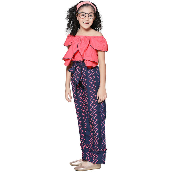 Casual Peach Polyester Printed Top & Trouser Set For Girls