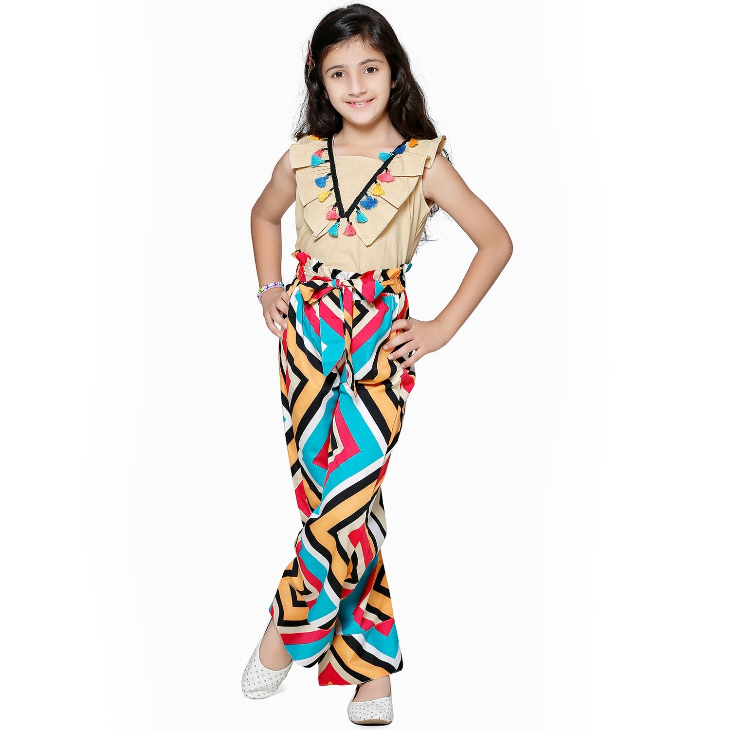 Casual Beige Polyester Printed Top & Trouser Set For Girls