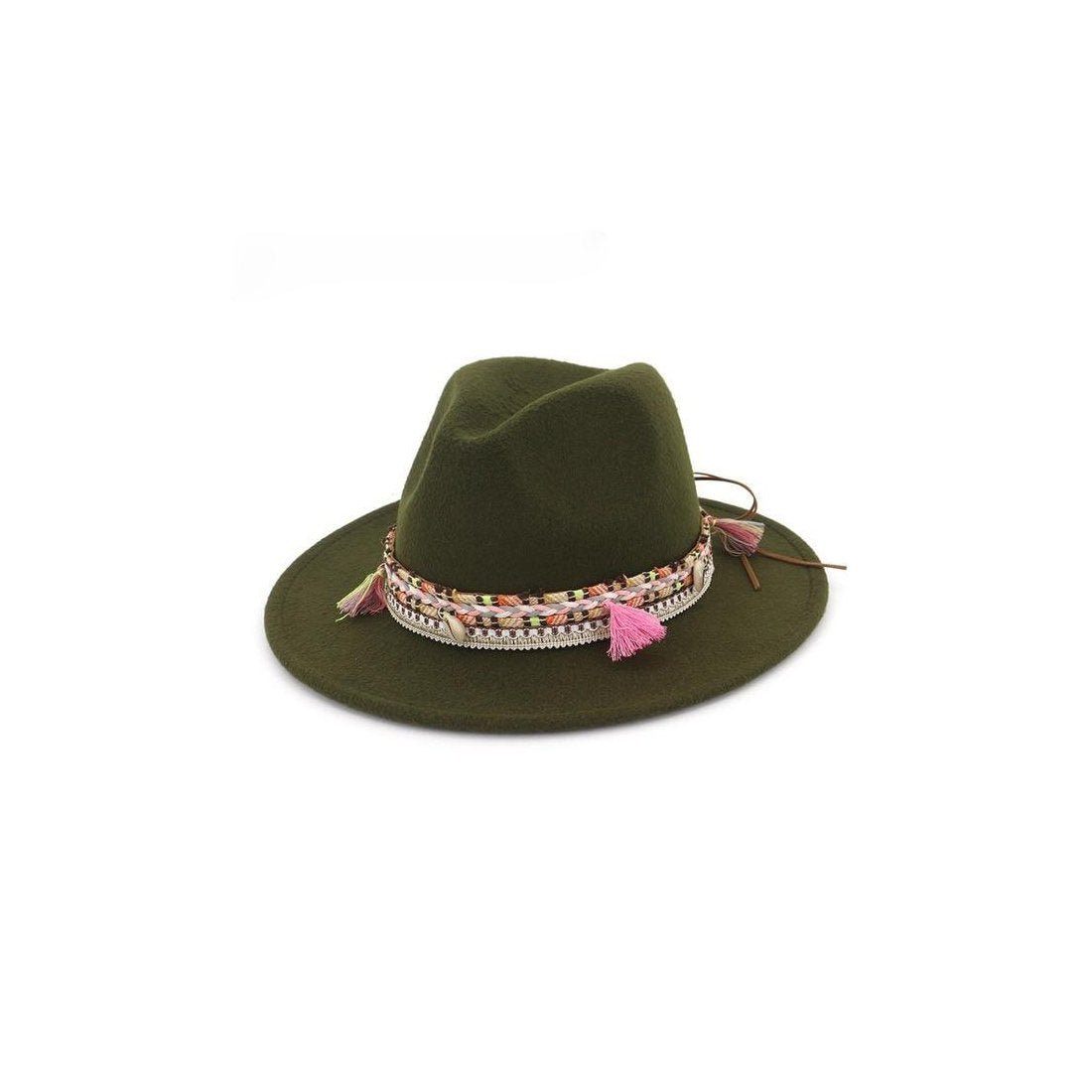 New Womens Fedora Hat Wool Khaki Jazz Hats Female National Casual Large Brim Vintage Autumn Classic Felt Hat And Cap