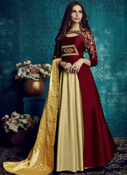 Designer Semi-Stitched Stylish Red Embroidered Flared Suit