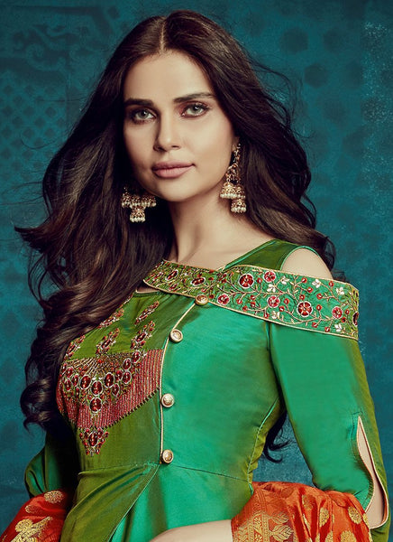Designer Semi-Stitched Stylish Green Embroidered Flared Suit