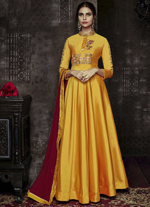 Designer Semi-Stitched Stylish Yellow Embroidered Flared Suit