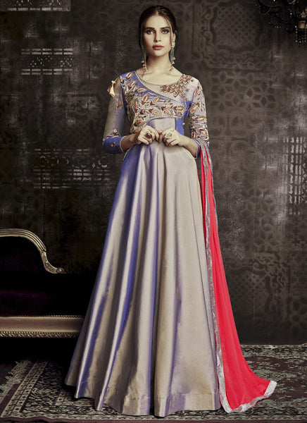 Designer Semi-Stitched Stylish Multi-Color Embroidered Flared Suit