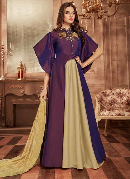 Designer Semi-Stitched Stylish Purple Embroidered Flared Suit