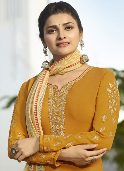 Designer Semi-Stitched Ethnic Yellow Embroidered Patiyala Suit