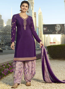 Designer Semi-Stitched Ethnic Purple Embroidered Patiyala Suit