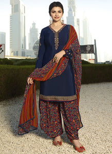 Designer Semi-Stitched Ethnic Blue Embroidered Patiyala Suit