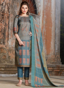 New Latest Semi-Stitched Silk Blend Printed Multi-Color Straight Pant Suit