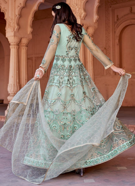 Latest Semi-Stitched Stylish Green Embroidered Net Anarkali Suit