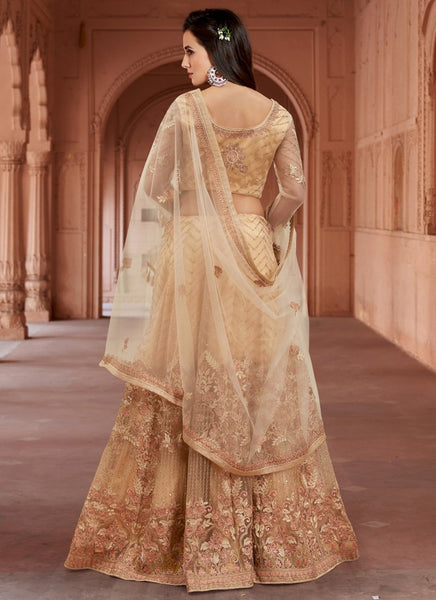 Latest Semi-Stitched Stylish Beige Embroidered Net Anarkali Suit