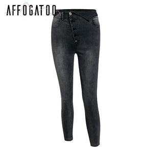 Fashion high waist button skinny black jeans pants Women causal fold pencil jean female Summer denim pants