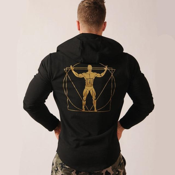 Autumn Winter Mens cotton gyms Hoodies Fashion Casual Sweatshirts fitness workout zipper Hooded jacket man slim fit sportswear