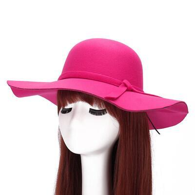 New Style Soft Women Vintage Wide Brim Wool Felt Bowler Fedora Hat Floppy Cloche Women's Large Jazz Hats