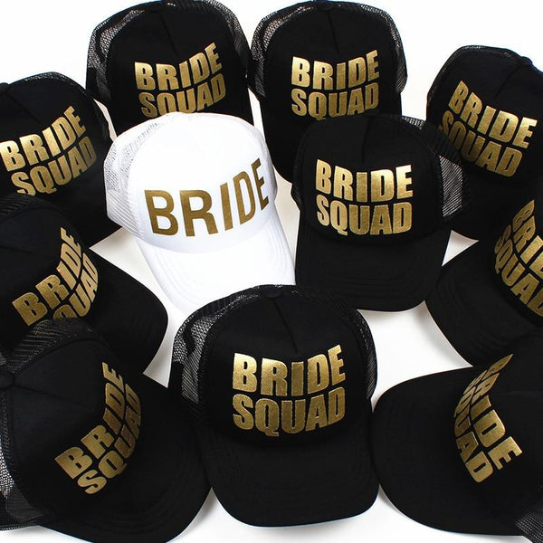 BRIDE Wedding Baseball Cap Gold Print Mesh Hat Women Party Brand Bachelor Club Team BRIDE SQUAD Snapback Caps Beach