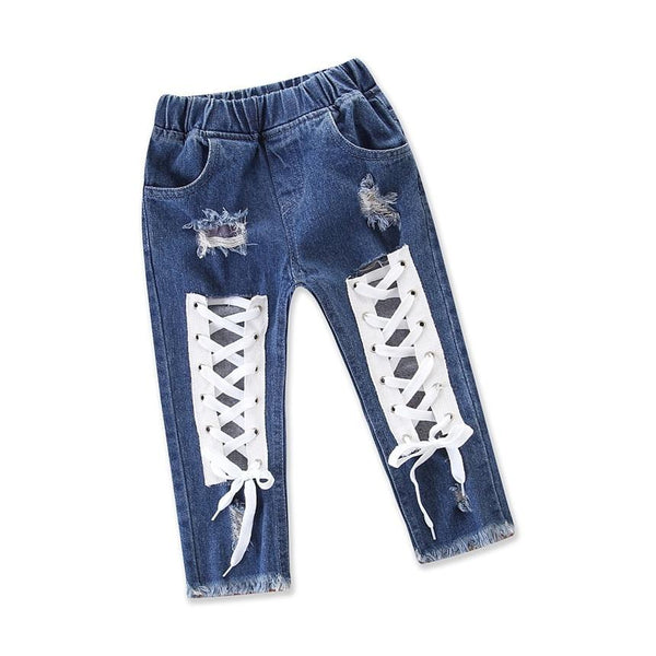 Baby Fashion Girls Jeans Cool Bandage Hole Trousers Kids Denim Pants Toddler Girl Casual Clothes Children Clothing Size 1-5Y