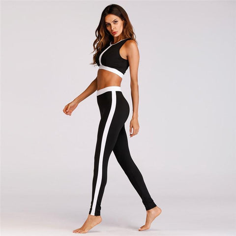 Black Striped Sport Suit Women Yoga Set Breathable Gym Sport Suits Elastic Fitness Training Running Dancing Suit