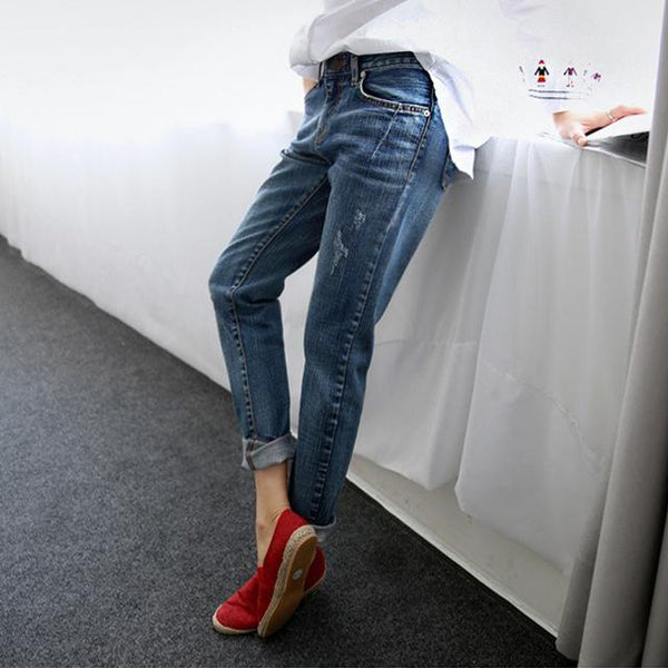 Boyfriend Jeans For Women 2018 Vintage Distressed Regular Spandex Ripped Jeans Denim washed Pants Woman Jeans