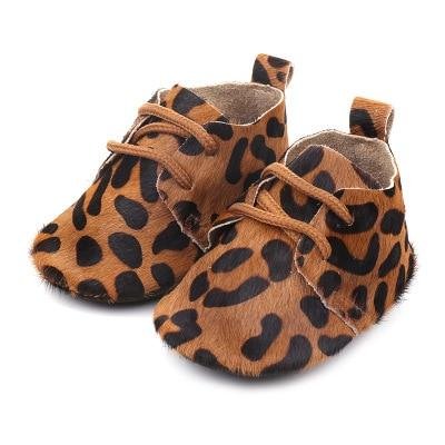 Brand New Toddler Newborn Baby Boy Girl Genuine Leather Soft Sole Crib Shoes Sneakers Prewalker Leopard Solid Warm First Walkers
