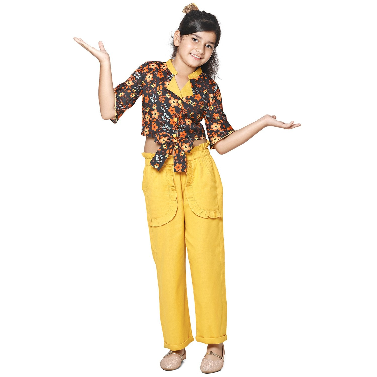 Casual Yellow Cotton Linen Blend Printed Top & Trouser Set For Girls
