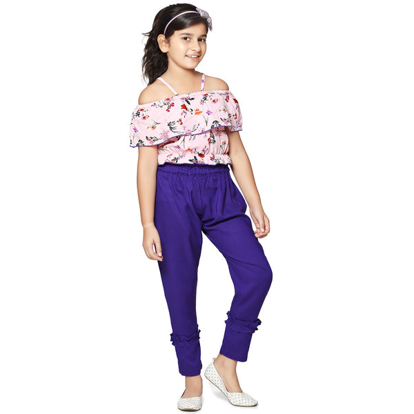Casual Purple Rayon Printed Top & Pant Set For Girls